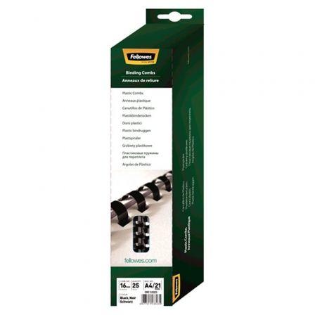 Pack de 25 Canutillos de Plástico para Encuadernación Fellowes 5332302/ 16mm/ Negro