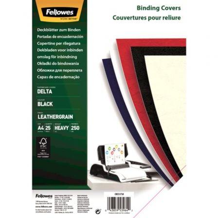 Portadas de Cuero Fellowes 5373802/ A4/ 250g/ 25 unidades/ Negras