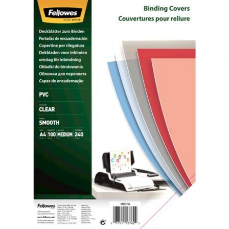 Portadas de PVC Fellowes 53762/ A4/ 240 Micras/ 100 unidades/ Transparente