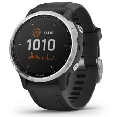 Garmin fenix 6S Solar - plata - reloj deportivo con banda - negro - 64 MB
