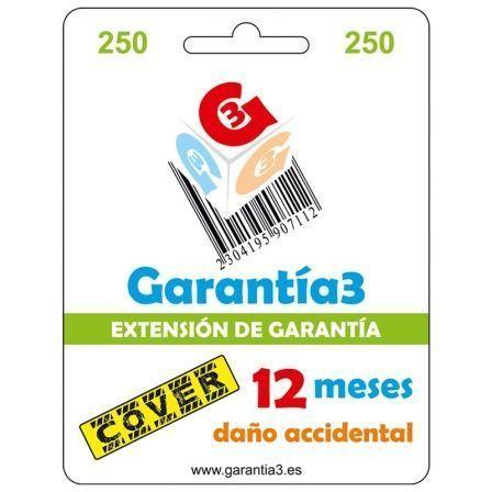 Seguro de Daño Accidental 12 Meses hasta 250¤ PVP para Productos Electrónicos