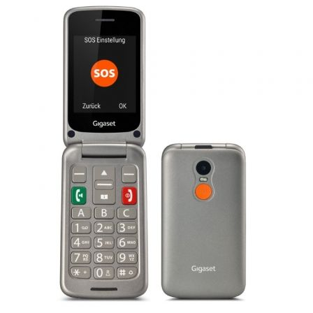 Teléfono Móvil Gigaset GL590 para Personas Mayores/ Plata Titanio