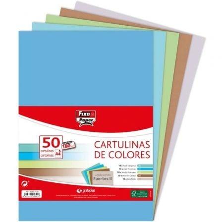 Pack 50 Cartulinas Grafoplás Fixo Paper 00001495/ DIN A4/ 180g/ Colores Fuertes