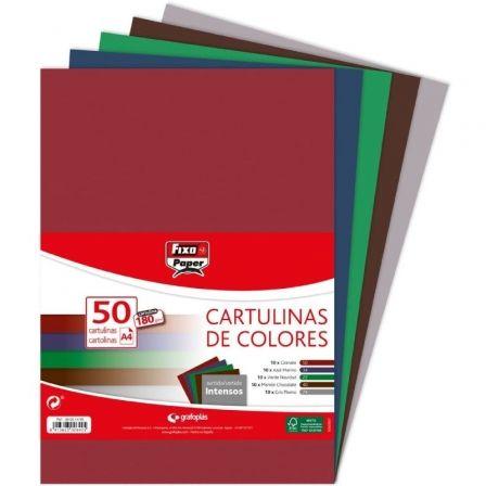 Pack 50 Cartulinas Grafoplás Fixo Paper 00001496/ DIN A4/ 180g/ Colores Intensos