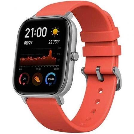 Amazfit GTS - gris - reloj inteligente con correa - naranja bermellón