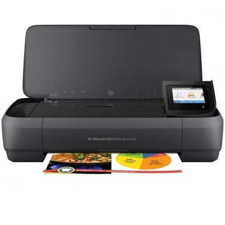 MULTIFUNCIÓN WIFI PORTÁTIL HP OFFICEJET 250 MOBILE AIO - IMPRESIÓN SIN BORDES - SCAN 600PPP - BATERÍA - USB - CART 62 BK/COLOR XL
