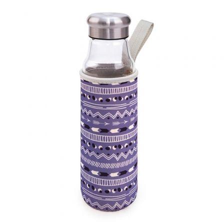 Botella de Cristal Iris 8207-VFL/ Capacidad 550ml/ Lila Flechas