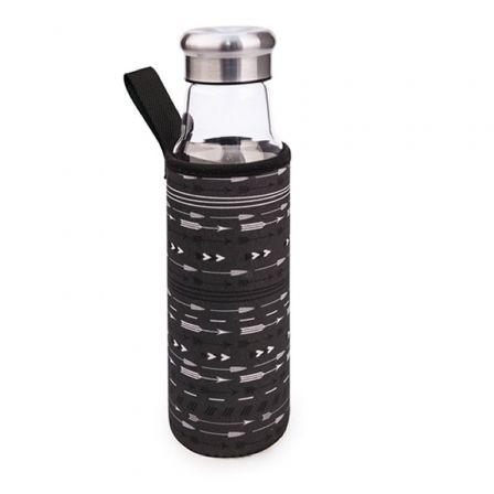 Botella de Cristal Iris 8207-VFN/ Capacidad 550ml/ Negra Flechas