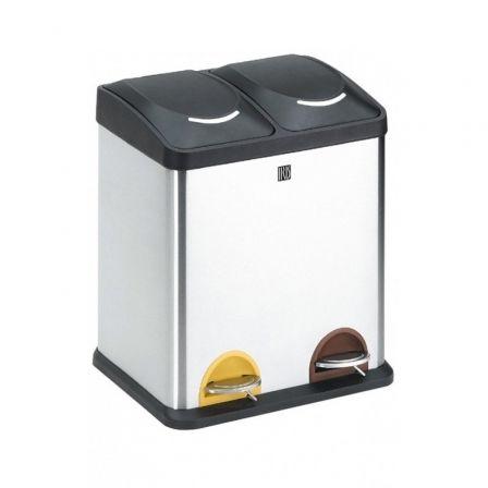 Cubo con Pedal Iris 2398-I/ 2 compartimentos/ 30L/ Inoxidable
