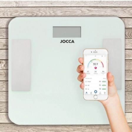 Báscula de Baño Jocca 7164/ Análisis Corporal/ Bluetooth/ Hasta 180kg/ Blanca