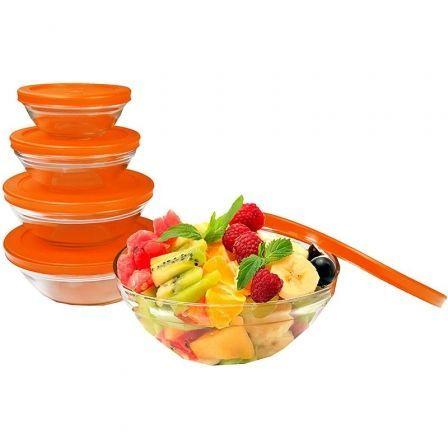 Pack 5 Boles de Cristal con Tapa Antideslizante Jocca 4497N/ Naranja