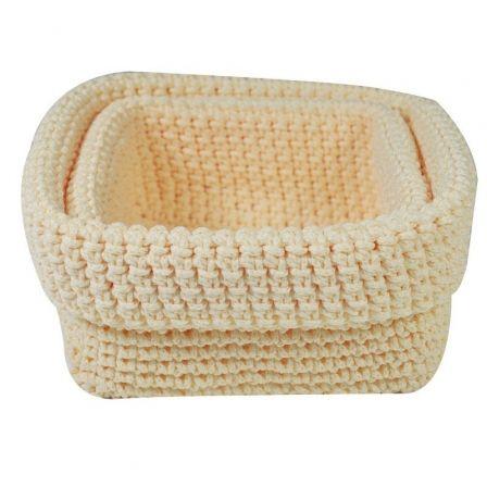 Set 2 Cestas de Crochet Jocca 4675C/ Crema