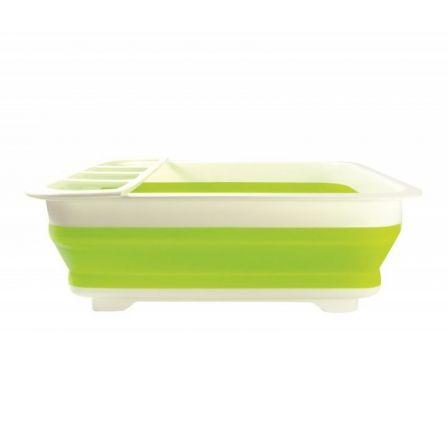 Escurreplatos Plegable de Silicona Jocca 3975/ Verde y Blanco