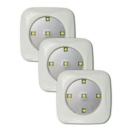 Focos LED Jocca 3437/ 5 LED por Foco/ Funciona a Pilas/ Pack 3 uds