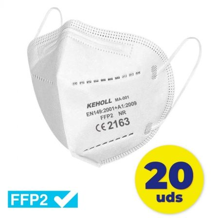 Mascarillas FFP2 Keholl/ Pack 20 uds/ Blanca