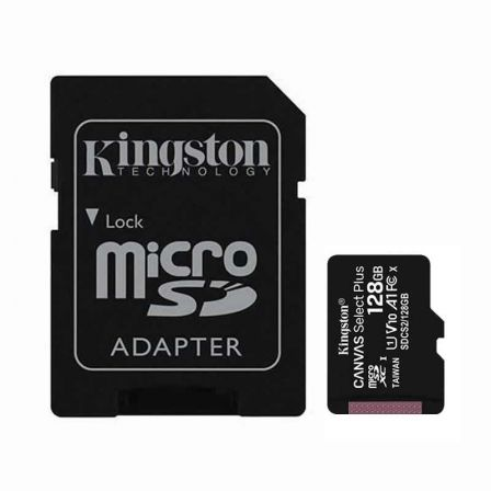 TARJETA MICROSD XC - 128GB + ADAPTADOR KINGSTON CANVAS SELECT PLUS - CLASE 10 - 100MB/S