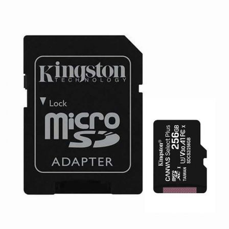 TARJETA MICROSD XC - 256GB + ADAPTADOR KINGSTON CANVAS SELECT PLUS - CLASE 10 - 100MB/S