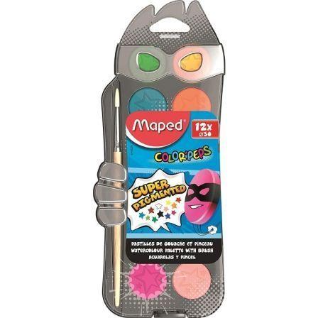 Kit Maped Color'Peps 811520/ Estuche 12 Acuarelas + Pincel