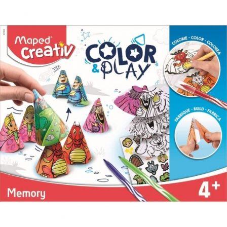 Juego de Memoria Maped Color&Play Memory 907000/ 3 Hojas Pegatinas + 12 Rotuladores Jungle + 18 Tapas Conos de Colores
