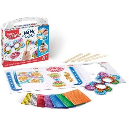 Kit Manualidades Maped Minibox Pegatinas de Mosaico 907015/ 7 Stickers Adhesivos + 3 Hojas de Accesorios Precortados + 4 Palitos