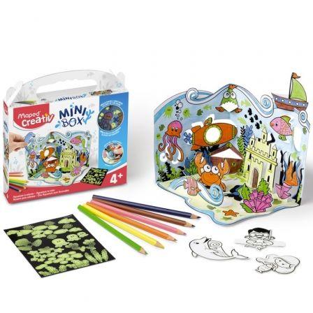 Kit Manualidades Maped Minibox Acuario 907031/ 6 Lápices de Colores + Lámina Pegatina + Escenario