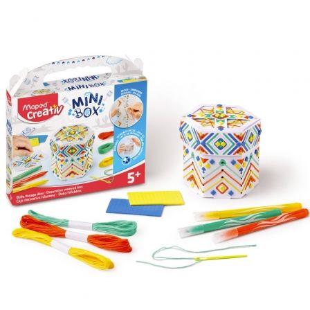 Kit Manualidades Maped Minibox Hilorama 907033/ 3 Rotuladores + 2 Tablas Mosaico + 3 Hilos de Colores + Caja de Construcción