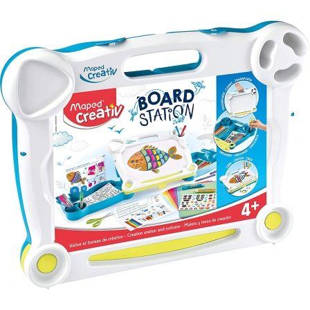Maletín Creativo Maped Board Station 907022/ 10 Rotuladores + Pegatinas + 5 Pegamentos + Tutoriales + Tijeras + Papeles de Colores