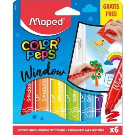 Pack Maped Color'Peps Windows 844820/ Rotuladores para Cristal + Paño/ 5mm/ 6 unidades