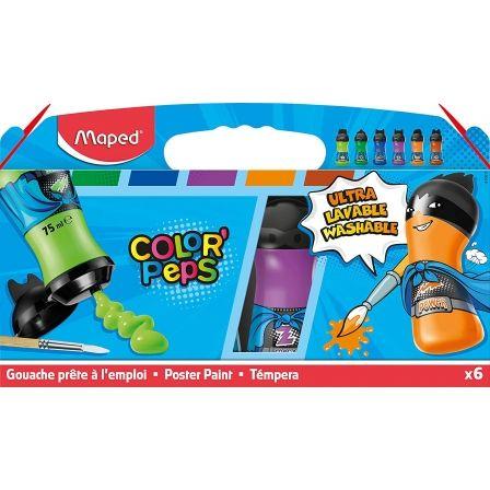 Set Temperas Maped Color'Peps 810011/ 6 unidades/ Capacidad 75ml