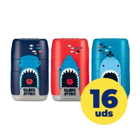 Caja de Afilaborras Milan Compact Shark Attack/ Doble / 16 unidades/ Colores Surtidos