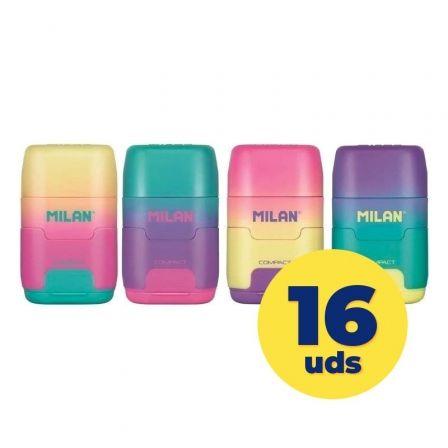 Caja de Afilaborras Milan Compact Sunset/ Doble/ 16 unidades/ Colores Surtidos