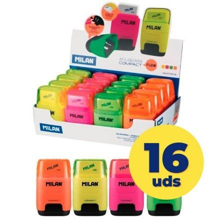 Caja de Afilaborras Milan Compact Fluo/ Doble/ 16 unidades/ Colores Fluorescentes Surtidos