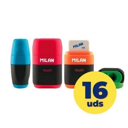 Caja de Afilaborras Milan Compact Touch Dúo/ 16 unidades/ Colores Surtidos