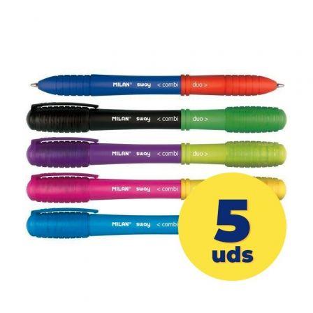 Bolígrafos de Tinta Milan Sway Combo Dúo 176584905/ 5 unidades/ Colores Surtidos
