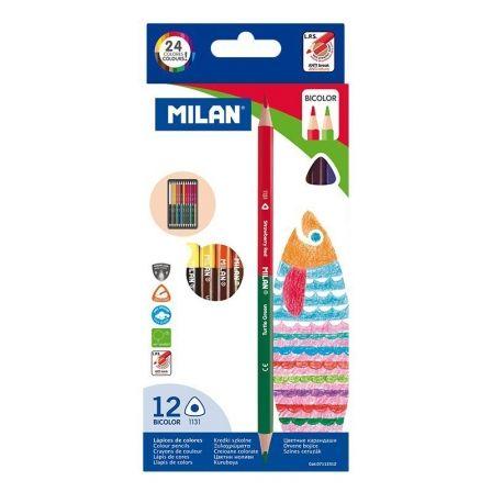 Lápices Bicolor Milan 7112312/ 2.9mm/ 12 unidades/ Colores Surtidos