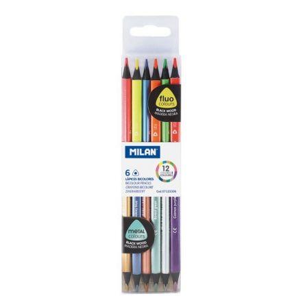 Lápices Bicolor Milan Fluo 7123306/ 2.9mm/ 6 unidades/ Colores Flúor + Metalizados