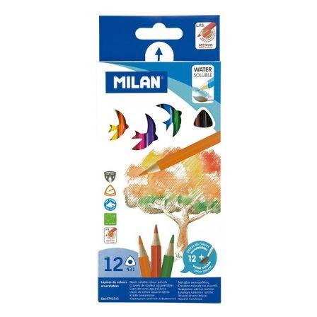 Lápices Triangulares + Pincel Milan 742312/ Acuarelables/ 2.9 mm/ 12 unidades/ Colores Surtidos
