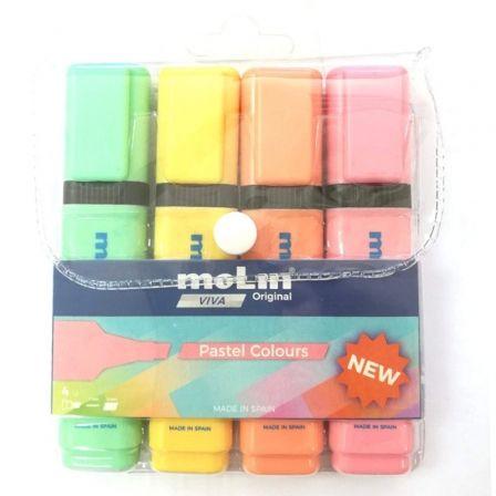 Marcadores Fluorescentes Molin RTF240-04P-W/ 4 unidades/ Colores Pastel Surtidos