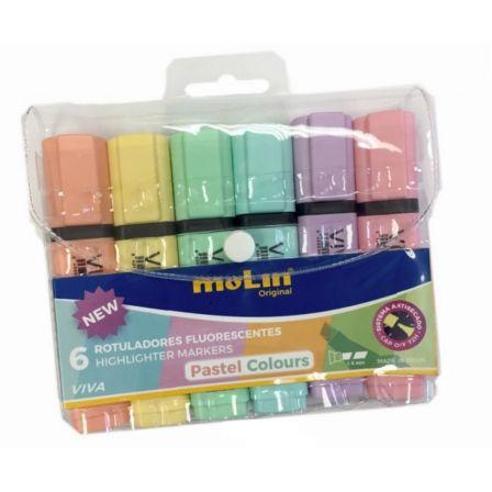 Marcadores Fluorescentes Molin RTF240-06P-W/ 6 unidades/ Colores Pastel Surtidos