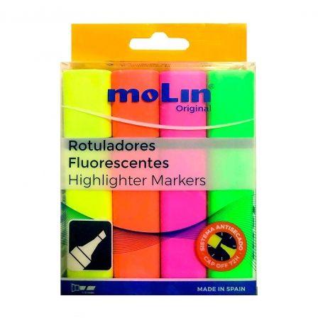 Marcadores Fluorescentes Molin Original RTF240-04B/ 4 unidades/ Colores Surtidos