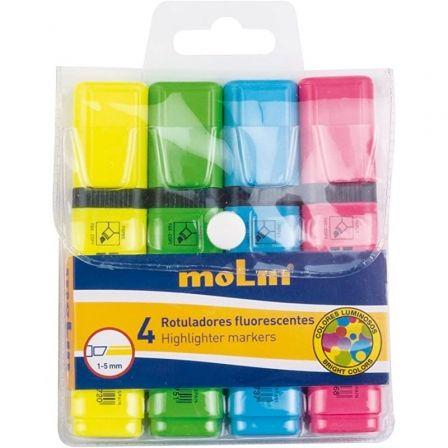 Marcadores Fluorescentes Molin RTF240-04W/ 4 unidades/ Colores Surtidos