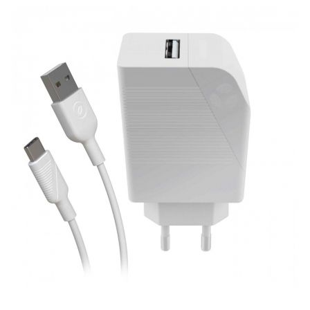 CARGADOR DE PARED MUVIT FOR CHANGE MCPAK0002 BLANCO - USB 5V / 2.4A / 12W - CABLE USB TIPO-C - 3A - 1.2 METROS