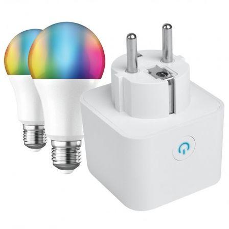 Enchufe WiFi Inteligente Muvit IO MIOPAK005 + Bombilla Inteligente Muvit IO A60/ Casquillo E27/ 9W/ 800 Lúmenes/ 2700K-6500K/ Pack de 2 uds