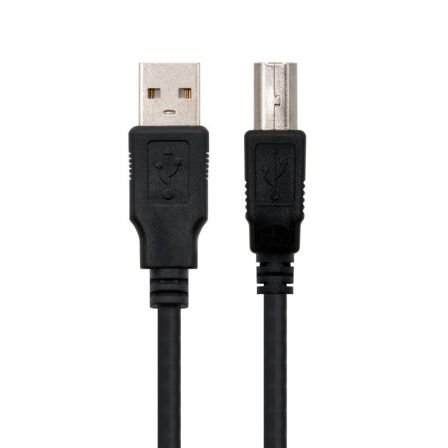 Cable USB 2.0 Impresora Nanocable 10.01.0102/ USB Macho - USB Macho/ 1m/ Negro