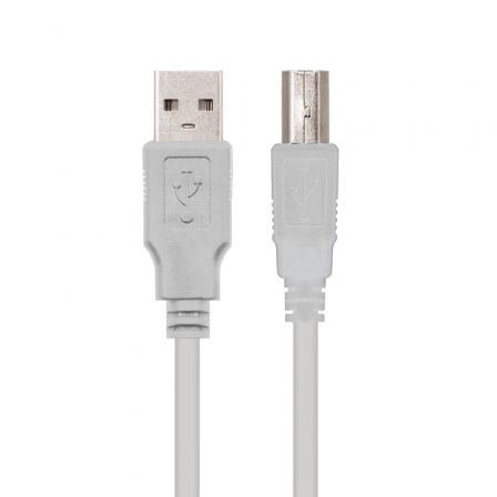 Cable USB 2.0 Impresora Nanocable 10.01.0102/ USB Macho - USB Macho/ 1m/ Beige