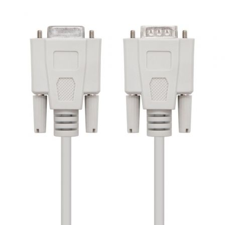 Cable Serie RS232 Nanocable 10.14.0203/ DB9 Macho - DB9 Hembra/ 3m/ Beige