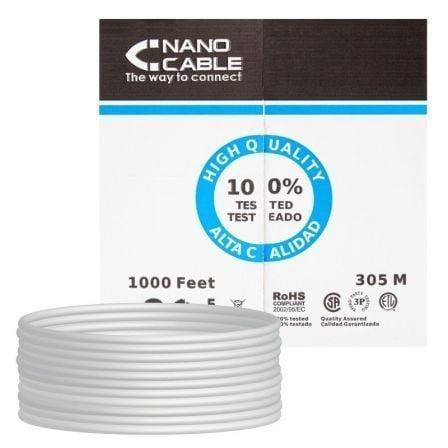 Bobina de Cable RJ45 UTP Nanocable 10.20.0304 Cat.5e/ 305m/ Gris