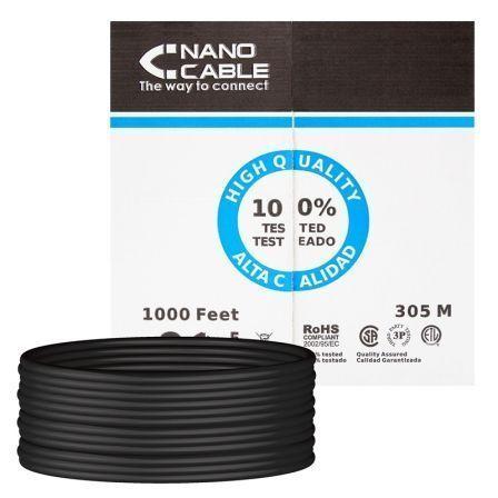 Bobina de Cable RJ45 UTP Nanocable 10.20.0304-EXT-BK Cat.5e/ 305m/ Negro