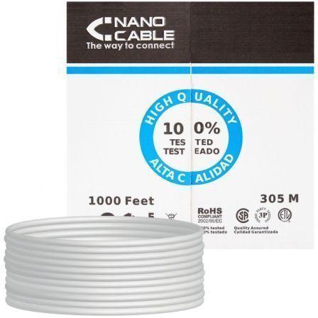 Bobina de Cable RJ45 UTP Nanocable 10.20.0304-FLEX Cat.5e/ 305m/ Gris