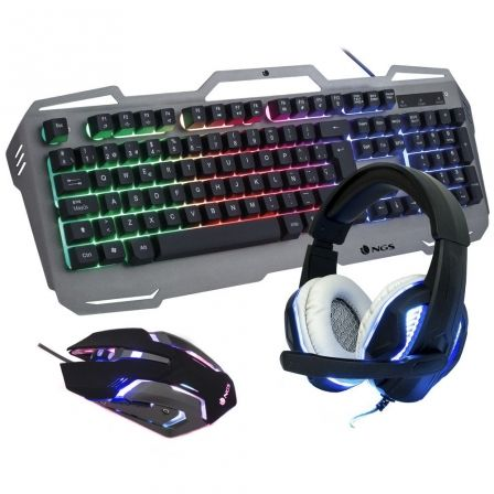 Pack Gaming NGS GBX-1500/ Teclado + Ratón Óptico + Auriculares con Micrófono